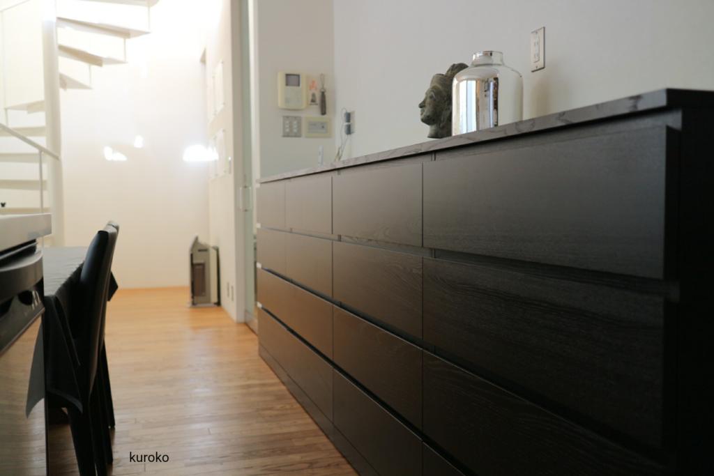 IKEAチェストMALM4段ブラックブラウン