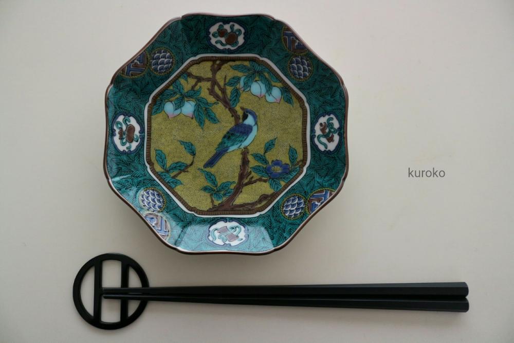 九谷焼のお皿とお箸の大きさ比較