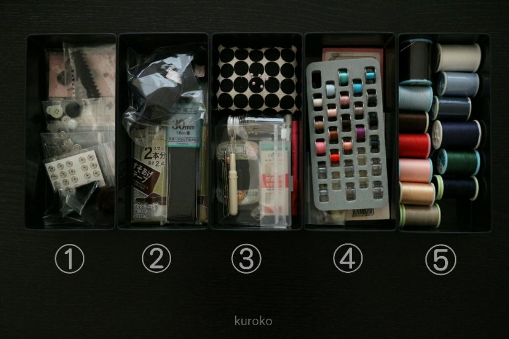 セリアのストレージケースに入れた裁縫道具各種