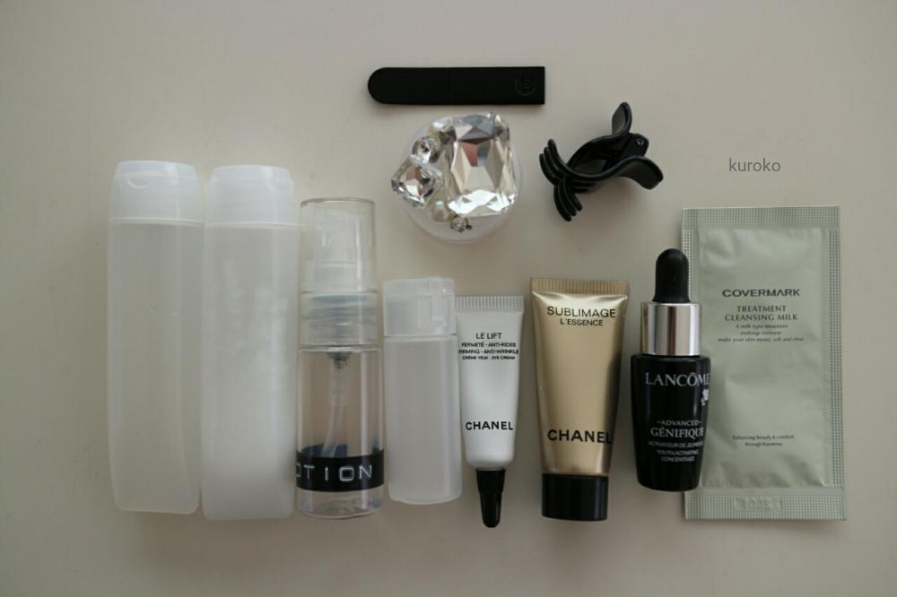 無印の詰め替え容器に入れた旅行用の基礎化粧品