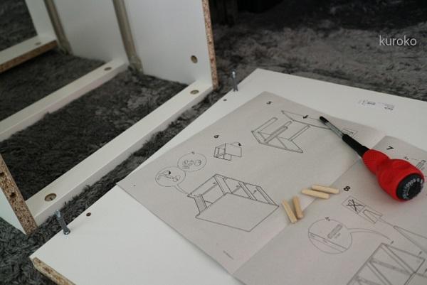 イケアmalmを組み立て途中の画像