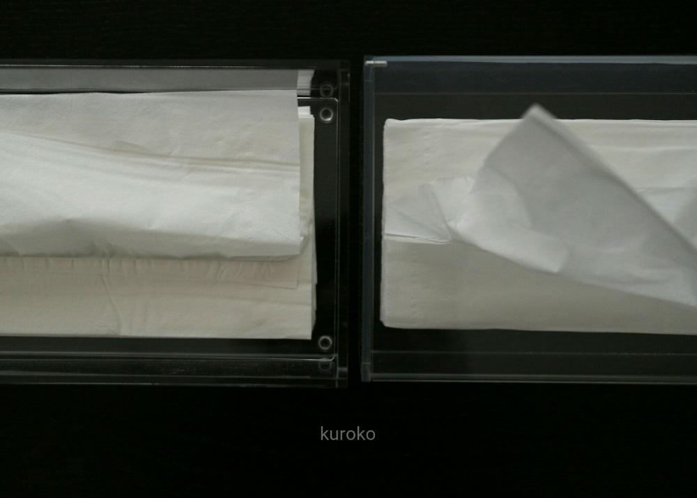 無印とニトリのアクリルティッシュボックスを上から見た比較の画像