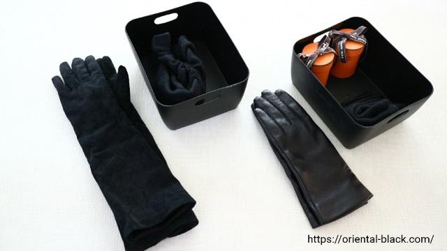 手袋やスカーフの収納例の画像