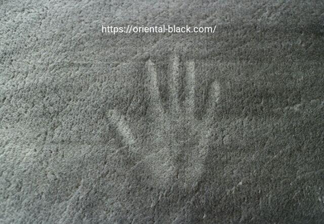 ムートンブラシで手入れしたニトリのラグの画像